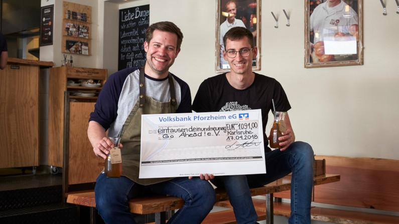 Hilfsorganisation Go Ahead! erhält eine Spende von 1091 Euro von DeliBurgers PM