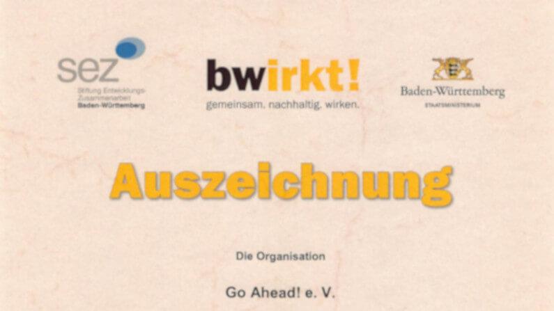 Neue Auszeichnung für Go Ahead!: SEZ-Förderprogramm bwirkt!
